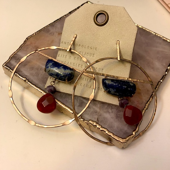 ANTHROPOLOGIE GOLD HOOPS WITH STONE DROPS